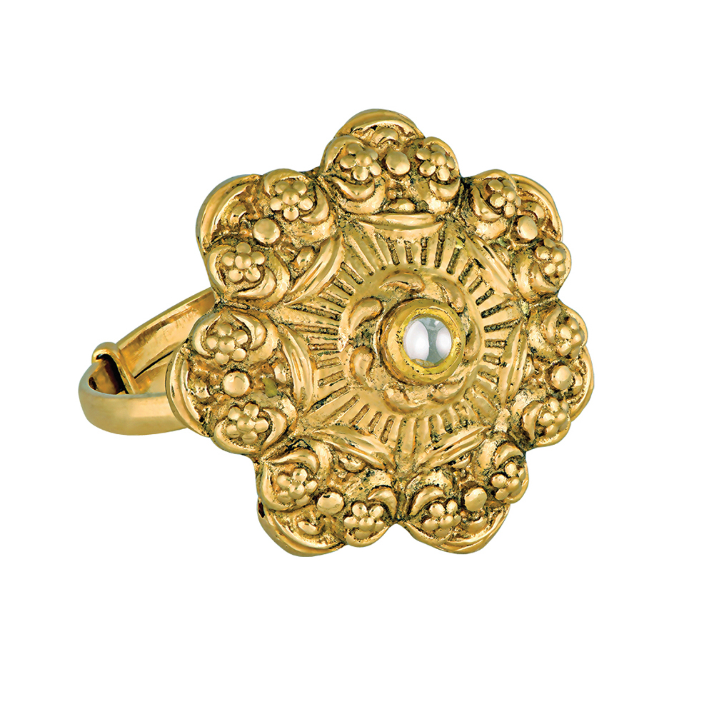 22 Kt Floral Gold Ring With A Kundan Centre - Rings | Azva