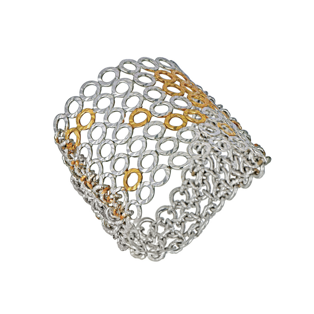Entwined Ring of Gold Interlinks and a Draped Chain - Entwined | Azva