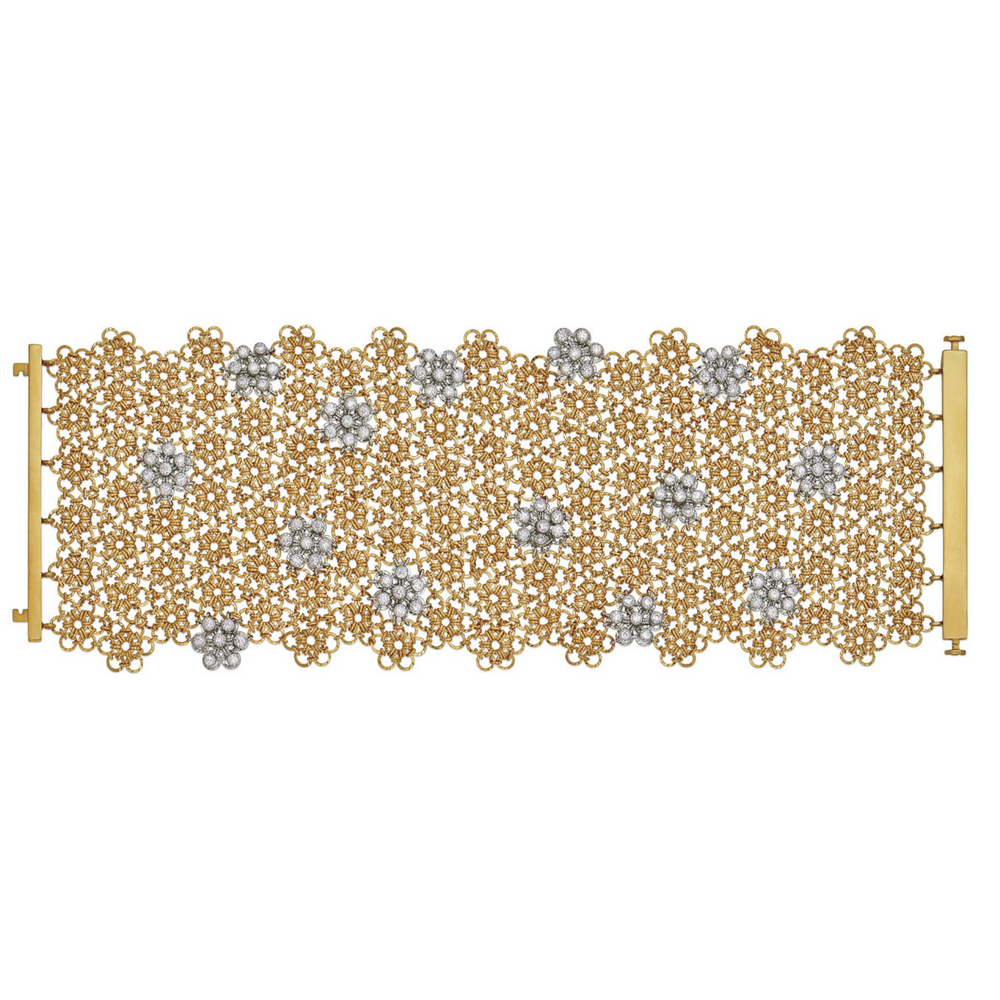 Broad Bracelet of Gold Interlinks with Diamonds - Entwined | Azva