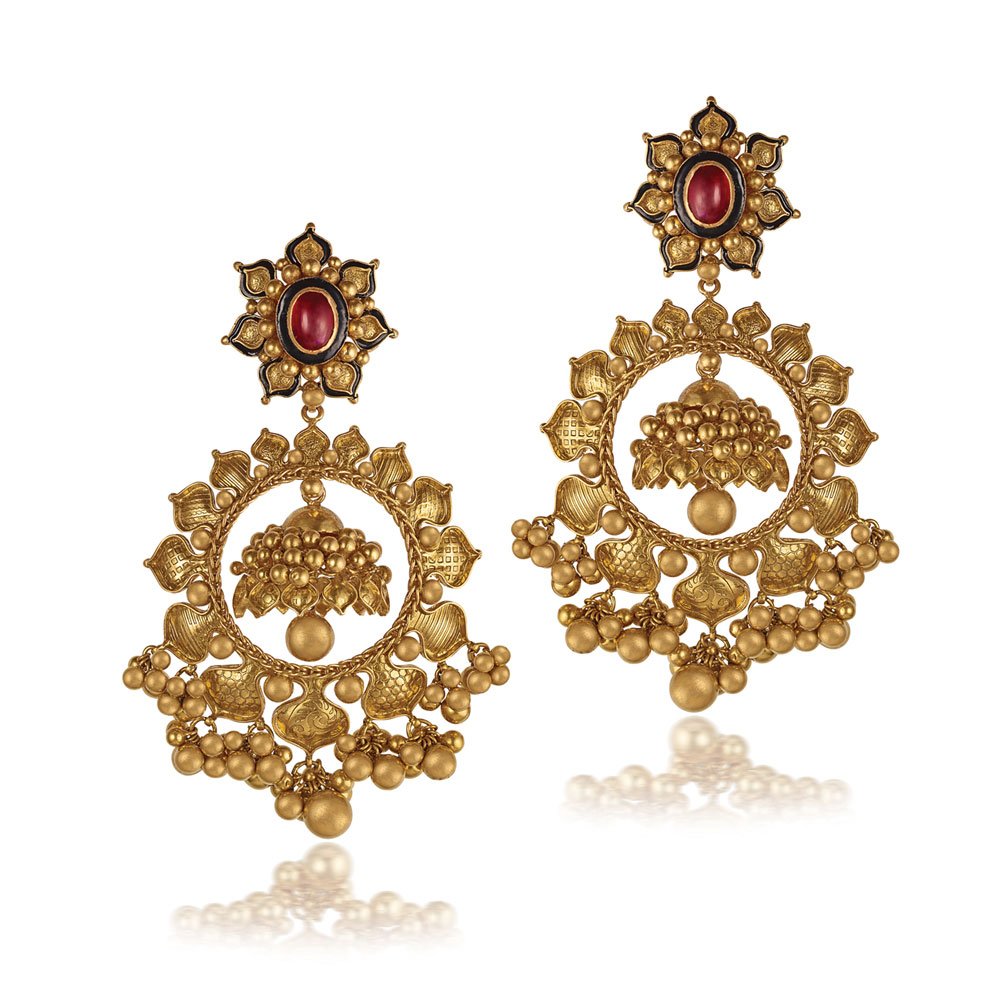 22 kt Gold Earrings with Bead Clusters - Earrings | Azva