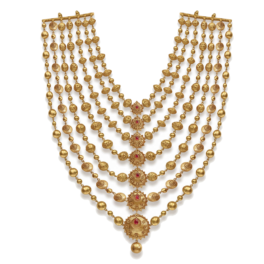 22 Kt Gold Layered Necklace of Graduating Pendants -  Seven rows haar | Azva