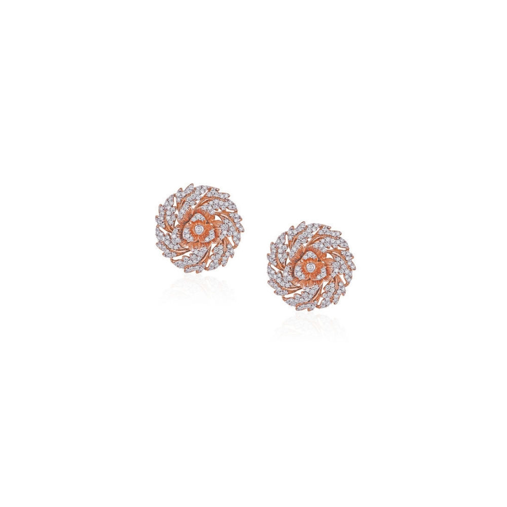 The Rose earrings with blooming diamond petals | Azva