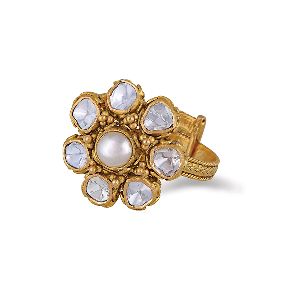 Polki Floral Ring With A Pearl Centre - Rings | Azva