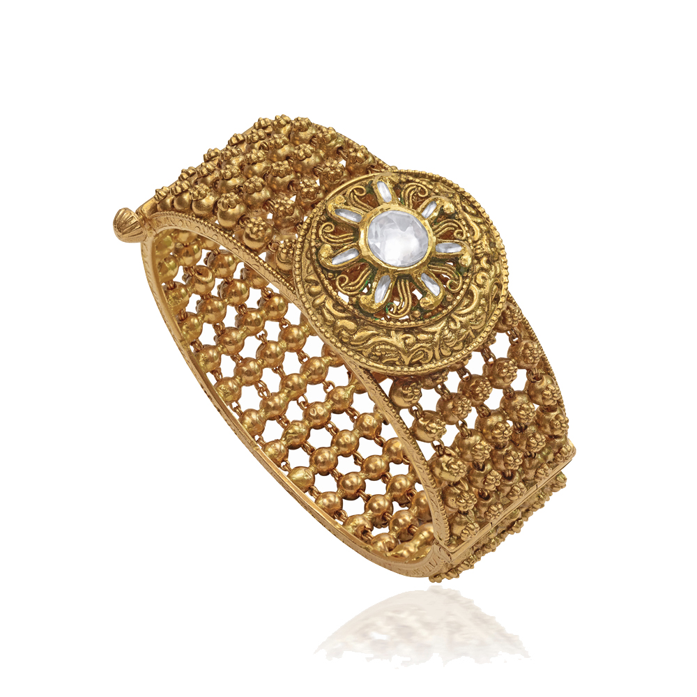 22 Kt Gold Broad Bangle With A Crescent Medallion - Banlges | Azva