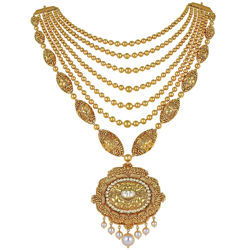 22 Kt Floral Gold Layered Necklace with Seven Pearls - Seven rows haar | Azva
