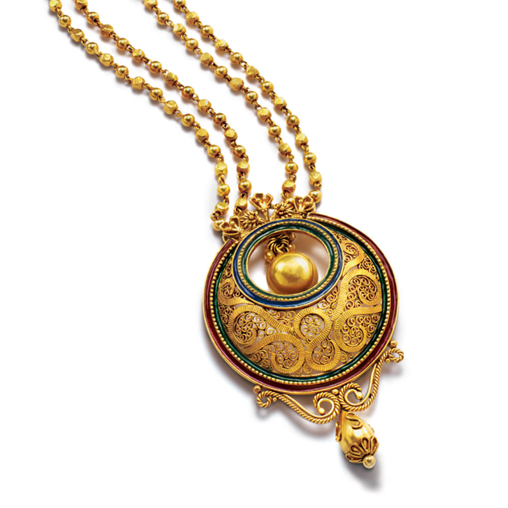 22 kt Gold Long Necklace with a Crescent Pendant - Pendant Sets | Azva