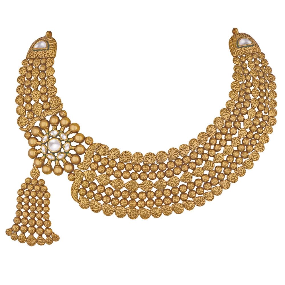 22 kt Asymmetric Necklace with Bead Tassel - Necklace | Azva
