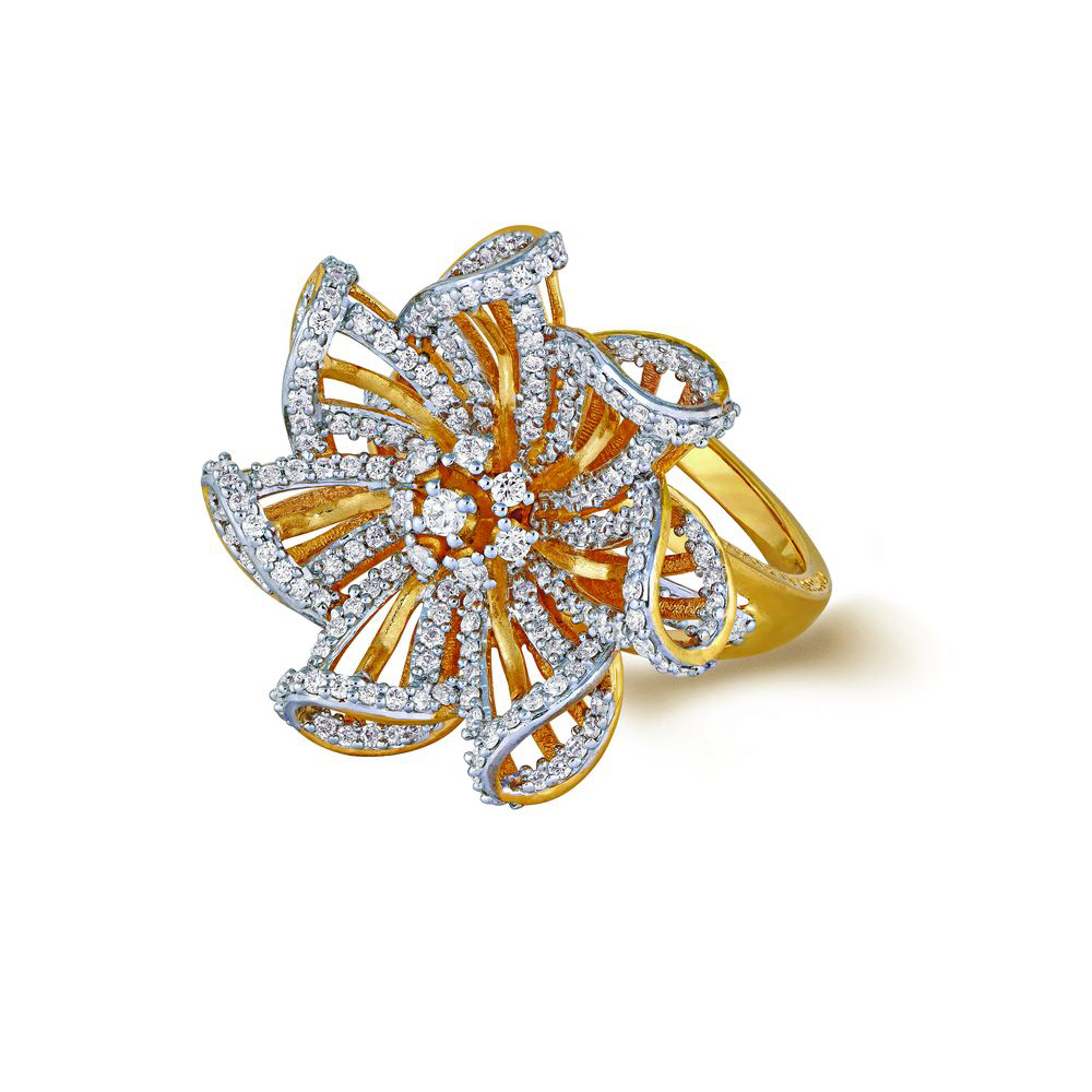 Diamond Ring With Seven Intricate Pinwheels - Rings | Azva