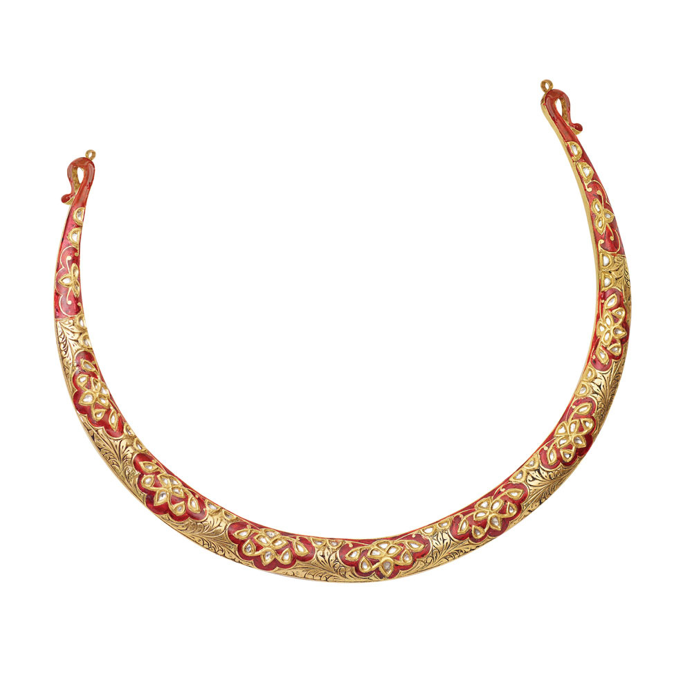Polki Collar Necklace in Vibrant Red Enamel - Hasli | Azva