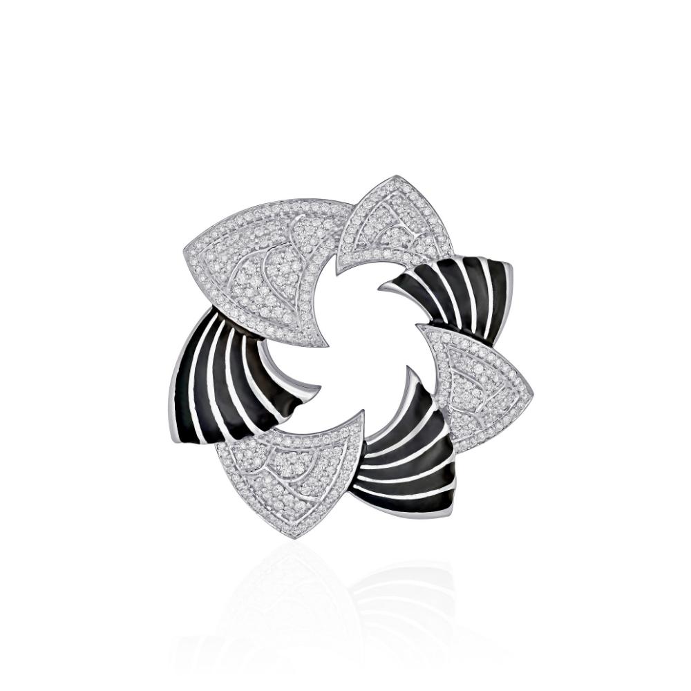 18 Kt White Gold Two-Tone Enamel Pendant with Diamonds - Enamel | Azva