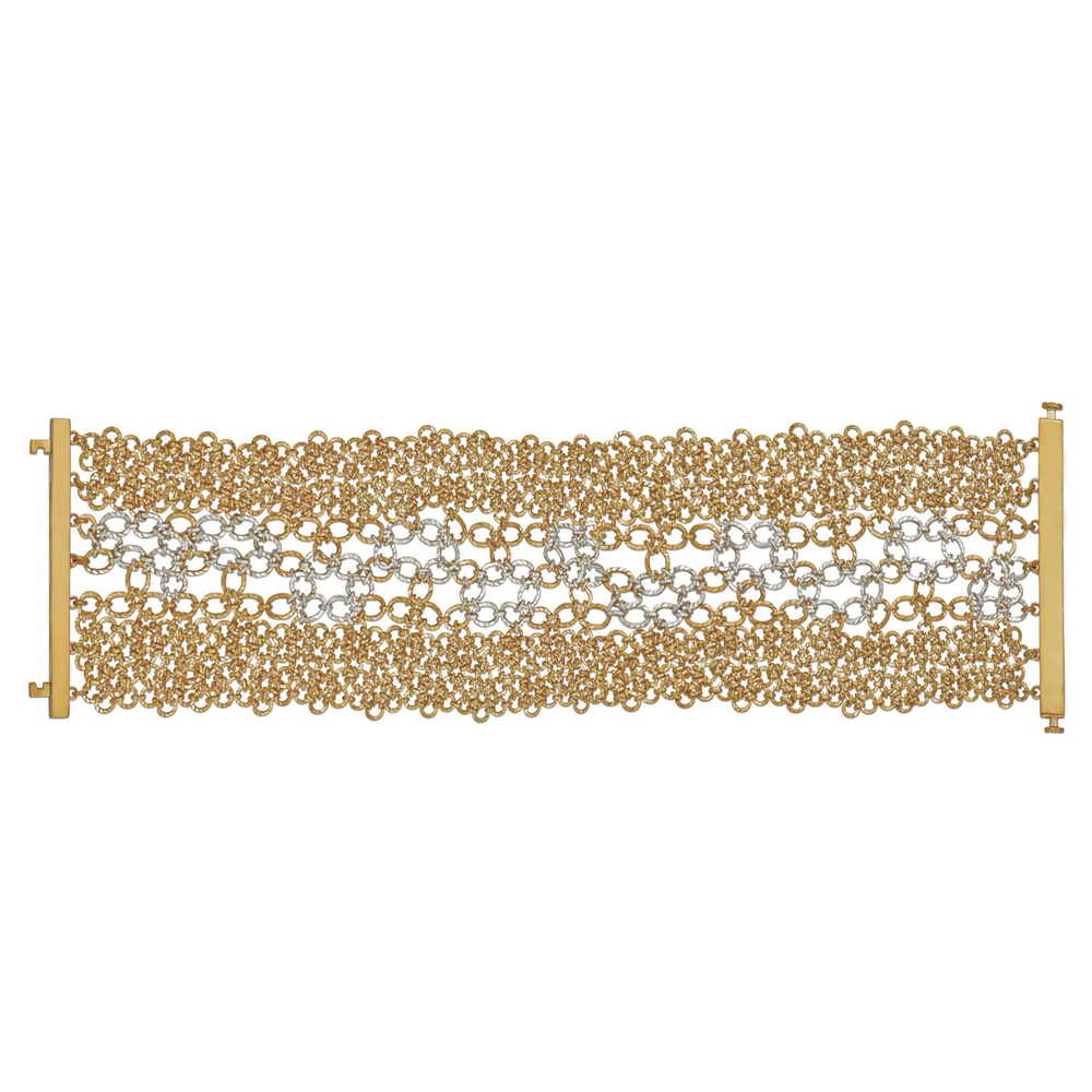 Entwined Bracelet with Flexible Gold Interlinks - Entwined | Azva
