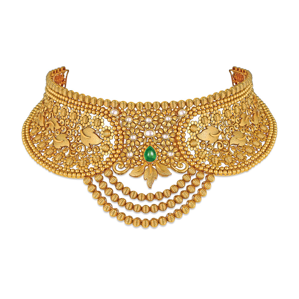 22 kt Gold Choker with Draped of Textured Beads - Choker | Azva