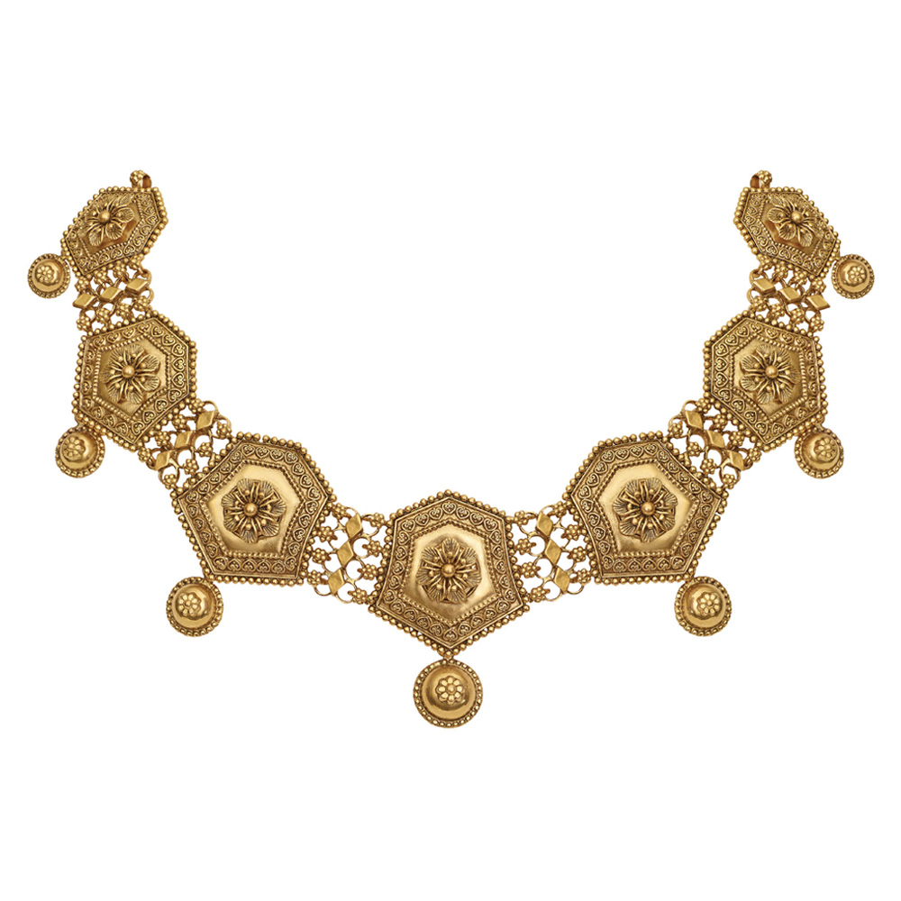 22 kt Gold Necklace with Seven Geometric Motifs - Necklace | Azva