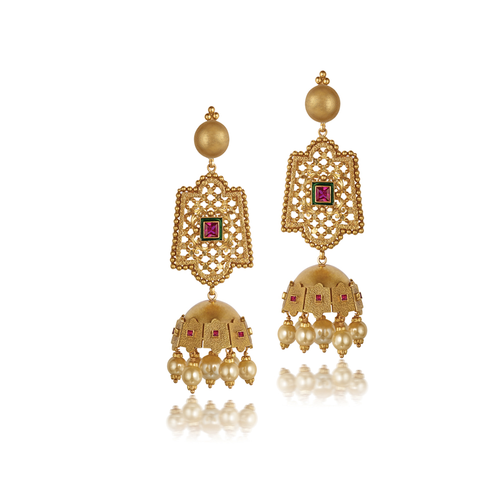 22 Kt Gold Earrings With Inticate Textures - Earrings | Azva