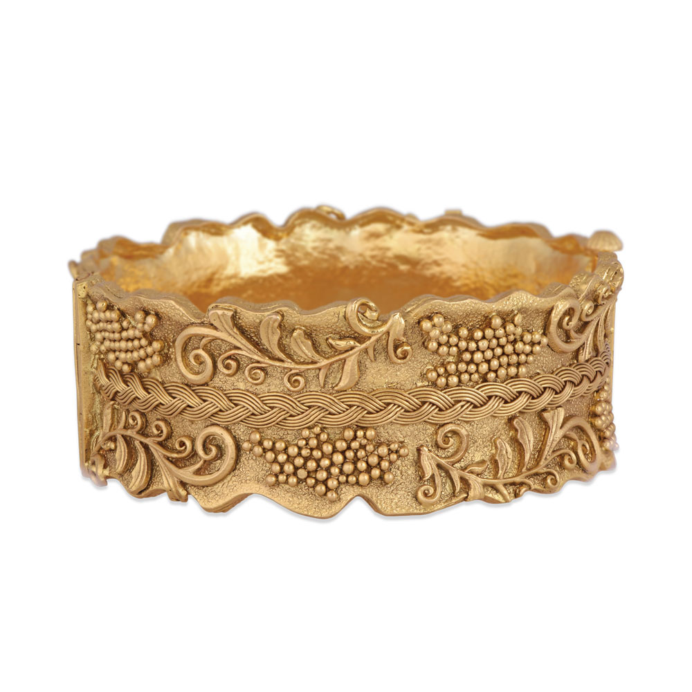 22 Kt Gold Bangle With Granules And Vines - Bangles | Azva